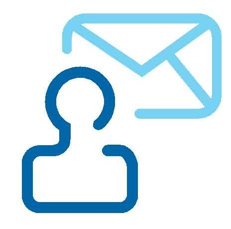 Logo with a shape of a person and an email envelope